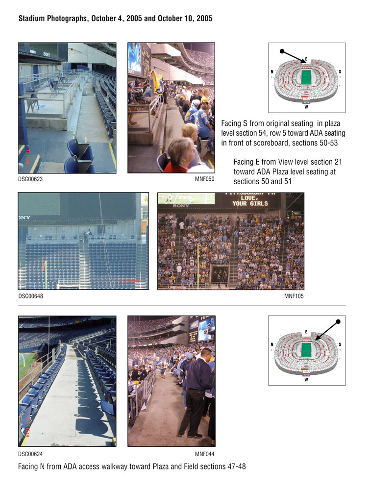 Photographic documentation of stadium ADA seating and locations of removed seats taken before and during an NFL game.