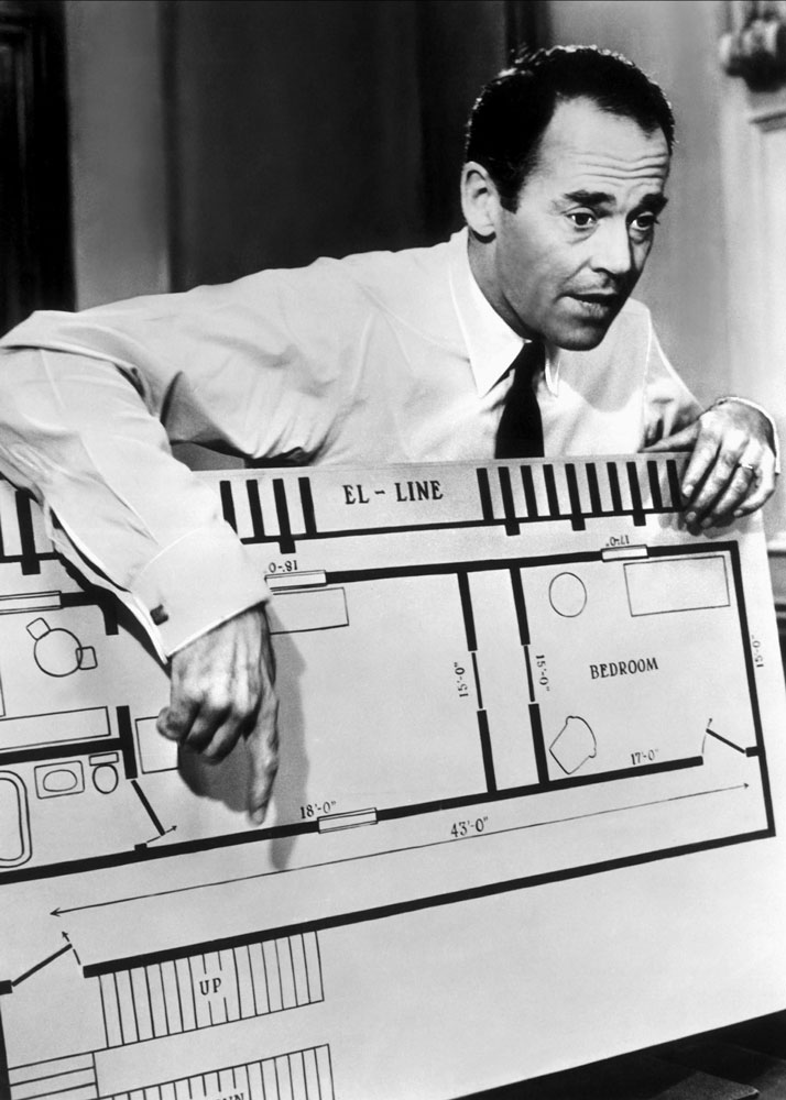 Henry Fonda's character in 12 Angry Men calls into question the reliability of key eyewitness testimony by demonstrating the timing between hearing footsteps coming downstairs and walking fifty-five feet to the stairs to see the fleeing defendant. © United Artists (Alamy Stock Photo)