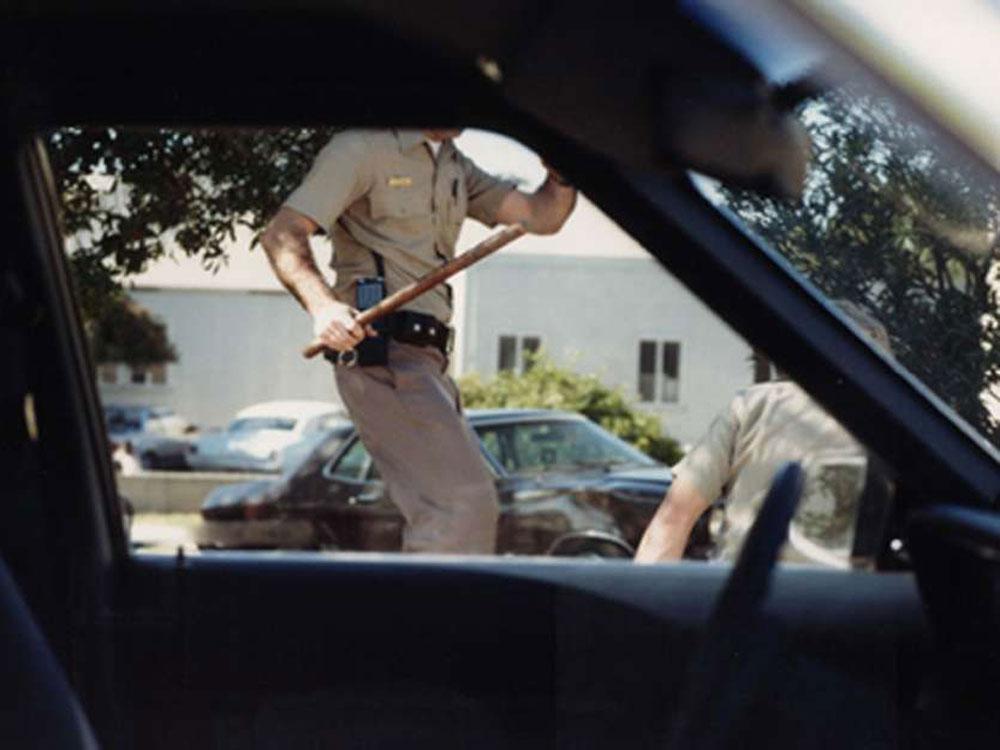 Photo taken during video reenactment of shooting mimics an eyewitness viewpoint.