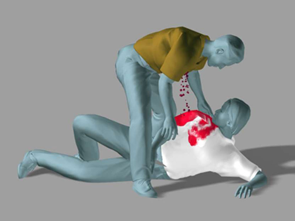 Frame from a reconstruction animation demonstrates the defense expert's opinion how blood stains were deposited on the front, top, and back of the defendant's clothing following the fatal stabbing of his assailant.