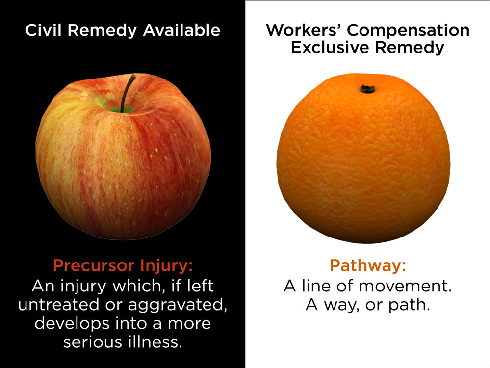 "This conceptual/conventional metaphor graphic combines ""as different as black and white"" with ""apples to oranges"" to differentiate between remedies offer by civil code and workers' compensation."